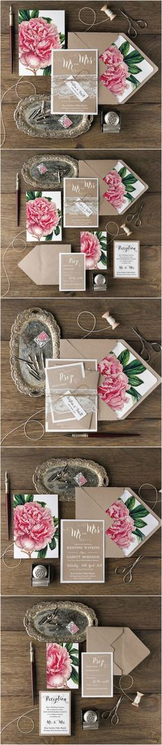 Peony Wedding Invitations - eco kraft paper, lace belly band, floral printing and envelope liner, white calligraphy printing #eco #botanical #floral #flowers #peony #weddingideas #rustic #boho