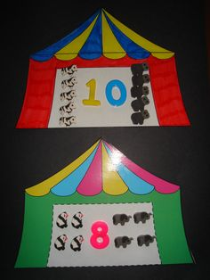 Circus Tent Math - I might use something like this as a number line on the wall Preschool Circus, Circus Classroom, Circus Activities, Summer Preschool Activities, Circus Crafts, Numbers Preschool, Preschool Math, Classroom Themes, Art Activities
