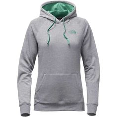 The North Face Women's EMB Logo Pullover Hoodie ($45) ❤ liked on Polyvore featuring tops, hoodies, hoodies pullover, logo hoodie, embellished tops, hooded pullover and pullover hoodie