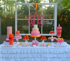 Pink and Orange Monogram Party by Bloom  Love the window behind the dessert table