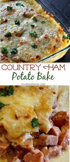 Rich and creamy Country Ham and Potato Bake is pure southern comfort food. Delicious chunks of ham, bathed in a rich cream sauce under a melted layer of cheese is great for brunch or dinner, and can b (Comfort Food Recipes) Baked Dinner Recipes, Pork Recipes, Baked Ham Recipes, Recipies, Healthy Recipes, Ham Slices Recipes, Ham And Potato Recipes, Spam Recipes, Hamburger Recipes