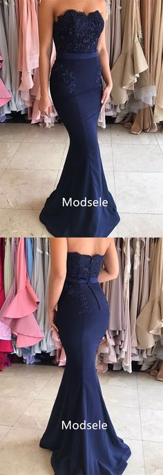 long prom dress, 2017 prom dress, navy blue prom dress, mermaid prom dress, cheap prom dress, discount prom dress, evening dress