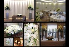 Wedding flowers (tall displays, table decorations, top table displays, bridal bouquet) from a white singapore orchid wedding at Coworth Park.