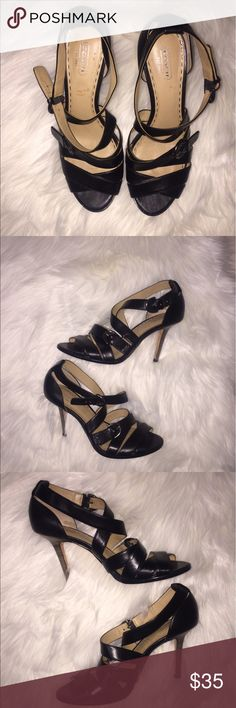 Coach black Strappy heels Size 9 regular. Has some wear on the sole Coach Shoes Heels
