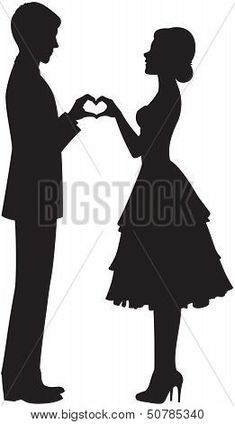 Illustration of silhouette of the bride and groom holding hands vector art, clipart and stock vectors. Couple Silhouette, Wedding Silhouette, Silhouette Images, Silhouette Projects, Man And Woman Silhouette, Bride And Groom Silhouette, Dress Silhouette, Crayon Art, Pencil Art Drawings