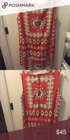 Red and blue Aztec dress This dress is colorful and perfect for summer, spring and fall! You can even wear if during winter with a cute cardigan and boots! Perfect condition worn three times Dresses Mini