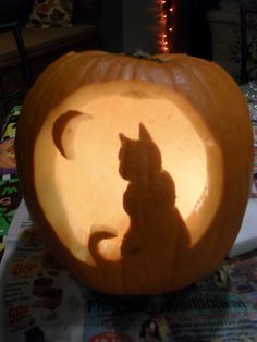 Free Cat Pumpkin Carving Template
