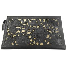 Chrysanthemum Black and Gold Tooled Leather Clutch by Cristiane Tano
