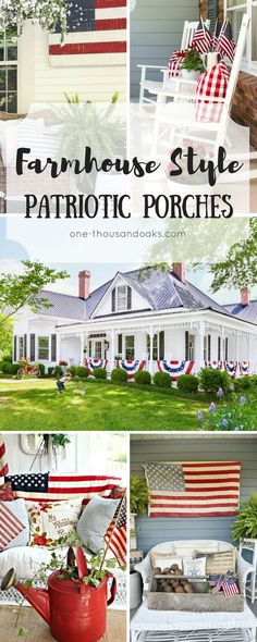 These Patriotic porches are comprised of red, white, and blue with a lot of farmhouse style decor. They are the perfect inspiration for decorating your porch for the 4th of July! Check it out now!       Porch decor Ideas | Farmhouse porch ideas | patriotic decor