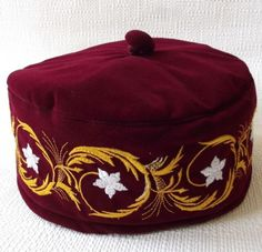Maroon smoking hat White flowers SECONDS Mans smoking cap 61 63 64 IMPERFECT