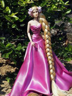 Barbie Gowns, Doll Clothes Barbie, Barbie Doll, Fashion Royalty Dolls, Fashion Dolls, Rapunzel Flynn, Gowns Of Elegance, Elegant Gowns, Doll Costume