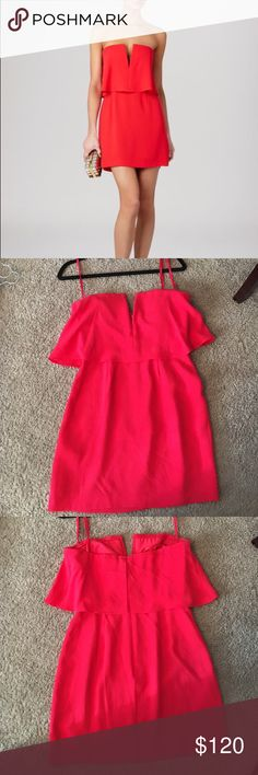 BCBG red Kate dress This red ruffled dress is perfect for a summer wedding or a night out on the town. Only worn once and in good condition. One small spot on the dress as seen in the lower right hand corner of the last photo. Hardly noticeable. Size 4 BCBGMaxAzria Dresses Mini