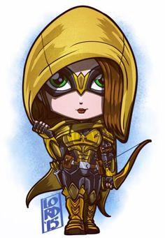 Speedy (Thea Queen) a lá Arkham Knight by Lord Mesa Marvel Vs, Chibi Marvel, Marvel Dc Comics, Cute Cartoon, Cartoon Art, Logo Super Heros, Lord Mesa Art, Super Heroine, Jobs In Art