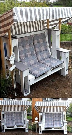 Now here is an idea to create a strandkorb chair for enjoying the weather with the spouse, it is not hard to create and it contains a shadow as well. The color combination can be changed according to the desire.