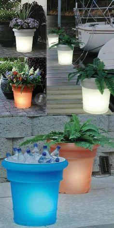 Round Resin Solar Illuminated Planter - use as a planter or as a cooler!
