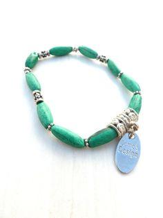 green color bracelet + silver color beads (S-247d) van Dome's Design op DaWanda.com