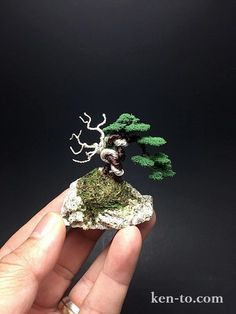 Flocked wire bonsai tree on rock by Ken To by KenToArt on DeviantArt