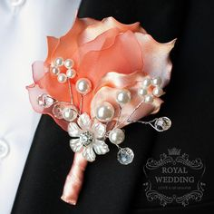 Boutonniere Coral Wedding Wedding by RoyalWeddingDecore on Etsy Bridal Bouquet Coral, Wedding Brooch Bouquets, Corsage Wedding, Bridesmaid Corsage, Brooch Boutonniere, Corsage And Boutonniere, Wedding Boutonniere, Diy Wedding, Wedding Flowers