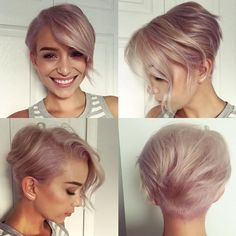 Chic Short Hair Ideas for Round Faces - Peinados Pelo Corto Cabelo Rose Gold, Rose Gold Hair, Purple Hair, Ombre Hair, Balayage Hair, Chic Short Hair, Pixie Hairstyles, Pixie Haircuts, Sweet Hairstyles