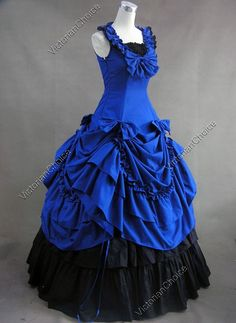 Civil War Southern Belle Royal Blue Ball Gown Period Dress Reenactment Clothing Theater Wear