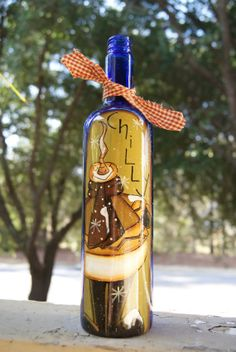 Hand Painted Country Snowman Wine Bottle by Ramshackles on Etsy, $17.95