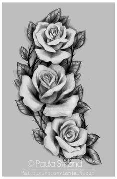 Resultado de imagen para three black and grey roses drawing tattoo Up Tattoos, Body Art Tattoos, Sleeve Tattoos, Cool Tattoos, Tatoos, Tattoo Arm, Hand Tattoos, Rose Tattoo On Hip, Rose Thigh Tattoos