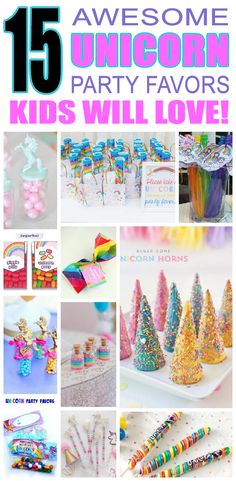 Magical unicorn party favors kids will love. Unique childrens birthday party favors for boys and girls. DIY ideas, goodie bags, sweet treets and more for unicorn birthday parties.
