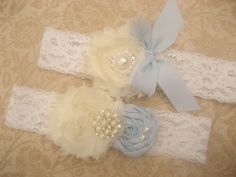 Blue Wedding Garter Set Toss Garter too Blue and White or Ivory lace with Rhinestones  Pearls  Custom Wedding colors on Etsy, $24.95