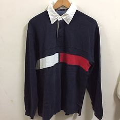 Vtg 90s Tommy Hilfiger color block rugby polo shirt LS Flag Strip Size Small  | eBay