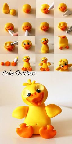 Duck by cake Dutchess Crea Fimo, Fimo Clay, Polymer Clay Projects, Fondant Figures, Clay Figures, Fondant Toppers, Fondant Cakes, Cake Fondant, Cake Dutchess