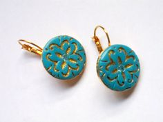 Turquoise and gold stamped round polymer clay earrings by OrlyFuchsGalchen