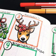 A sweet little for . Bullet Journal Christmas, Doodle Quotes, Sketch Notes, Christmas Countdown, Bujo, Reindeer, Doodles, Bullet Journals, Sweet