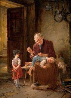 Humborg, Adolf (b,1847)- Grandmother Sewing Torn Pants (on) -2a