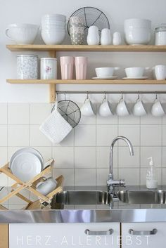sunny day in our kitchen IKEA Varde shelf for over that long butcher block? Hang pots & pans, storage for less used items above?IKEA Varde shelf for over that long butcher block? Hang pots & pans, storage for less used items above? Kitchen Wall Shelves, Kitchen Tiles, Kitchen Storage, Kitchen Cabinets, Kitchen Sink, Kitchen Organization, Kitchen Decor, Organization Ideas, Kitchen White