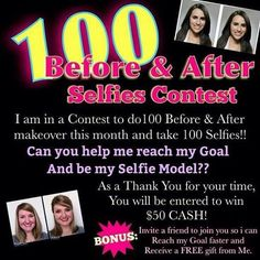 I need your face for my selfie model contest. You will be entered into my drawing for $50 cash!!! Tag a friend to join you and receive a super, free gift from me.  479-461-8142  BrandyHarper@MaryKay.com  www.marykay.com/BrandyHarper #beforeandafter #selfiecontest