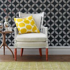 Moroccan Modern design look with an easy allover stencil. Moroccan Stencils | Endless Moorish Circles | Royal Design Studio