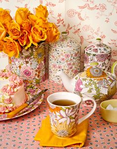 retro floral tea set and canisters