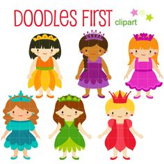 Flower Princesses DIgital Clip Art for by DoodlesFirst on Etsy