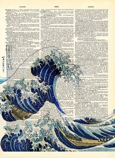 Canvas Ancient Japanese Blue Wave Art Dictionary Poster Print Inch Home Decor Japanese Waves, Japanese Art, Book Page Art, Book Art, Art Mur, Newspaper Art, Art Asiatique, Japon Illustration, Great Wave Off Kanagawa