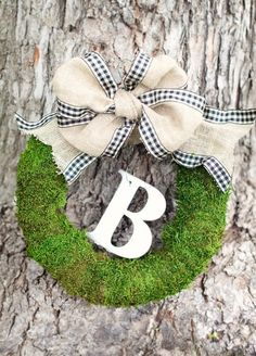 Monogrammed Moss Wreath With Large Burlap Bow - Rubee Lane