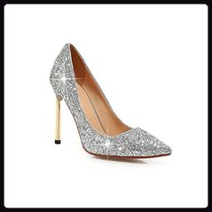 BalaMasa Womens Electroplate Heel Sequin Pull-On Silver Frosted Pumps-Shoes - 7 B(M) US (*Partner Link) Silver Shoes Heels, Glitter Shoes, Wedding Pumps, Wedding Shoes Heels, High Heels Stilettos, Black Pumps, Suede Pumps, Women's Pumps, Wedding Shoes Online