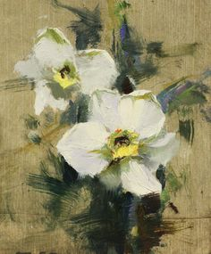 My daffodil painting will be at the Black Friday show. oil in linen. Thanks for the panel, it was a nice surface and color to work on.