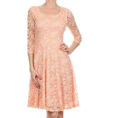Avital Peach Lace A-line Dress ($45) ❤ liked on Polyvore featuring dresses, orange, orange lace dress, red a line dress, 3/4 sleeve dresses, lace dress and peach dresses