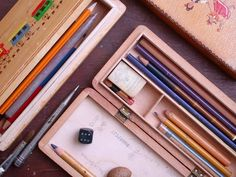 These vintage pencil boxes.   37 Borderline Erotic Photos For People Who Love Stationery