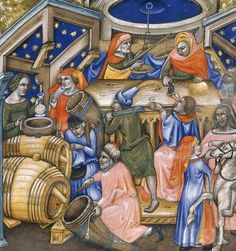 Wine merchants in Bologna, from a manuscript of c 1345 (image is in the Public Domain). Geoffrey Chaucer's father was a London wine merchant Medieval Life, Medieval Art, Renaissance Food, History Of Wine, Wine Merchant, Greek Art, Old London, 14th Century, Middle Ages