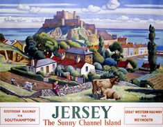 vintage travel poster, Adrian Paul Allinson, 1947. Jersey: The Sunny Channel Island