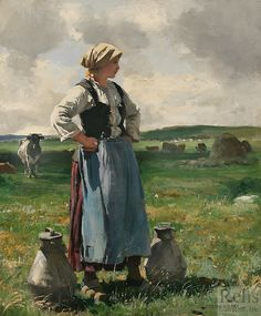 """Milkmaid in Normandy"" by Julien Dupré (1851 - 1910)"