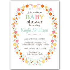 54 best girl baby shower invitations images on pinterest in 2018 invite guests to your girl baby shower with this simple flowery wreath invitation baby shower filmwisefo