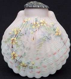 Mt Washington Art Glass, Crown Milano, Opal Ware, with multi-color floral decoration, shell form, metal shaker lid, circa 1893-1900