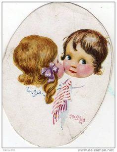 Deux fillettes s'embrassant - Illustré par A BERTIGLIA en 1916